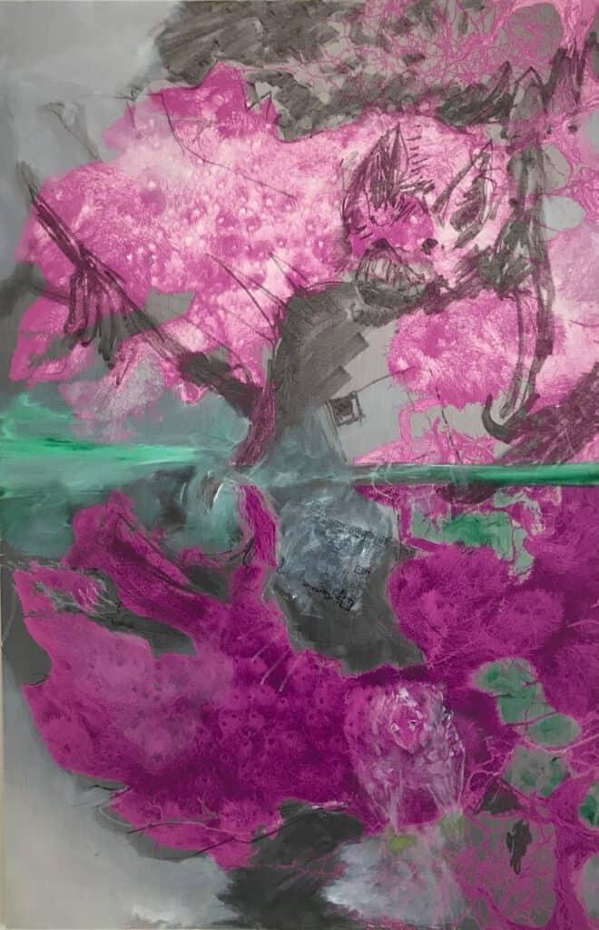 SABINE SCHÄFER / ROSEMARIE VOLLMER (ÜBERMALUNG) NARZISSTEN I AR Öl, Kreide, Grafik, Augmented Reality (AR), Klang, 92,5 x 60,5 cm 2021
