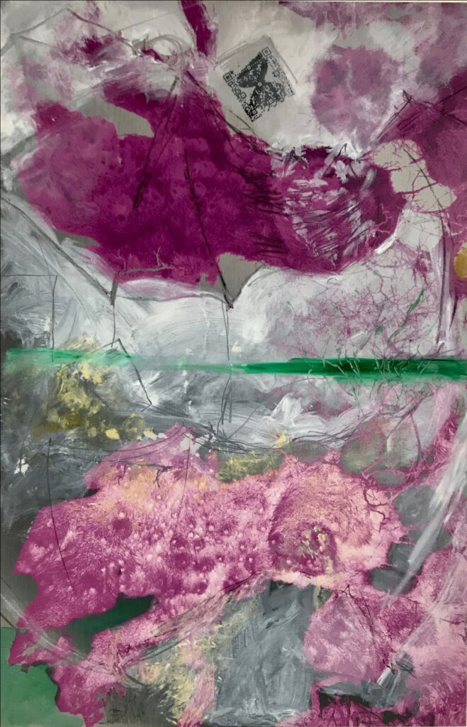SABINE SCHÄFER / ROSEMARIE VOLLMER (ÜBERMALUNG) NARZISSTEN II AR Öl, Kreide, Grafik, Augmented Reality (AR), Klang, 92,5 x 60,5 cm 2021